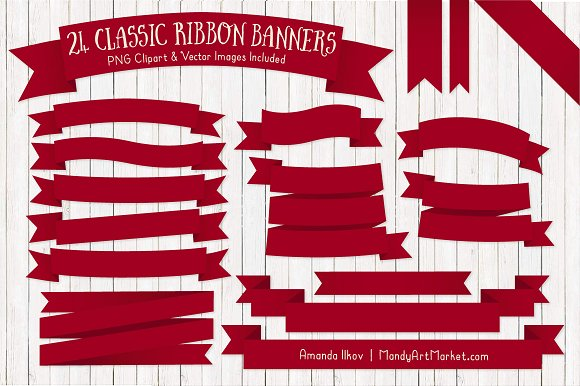 Ruby Ribbon Banner Clipart