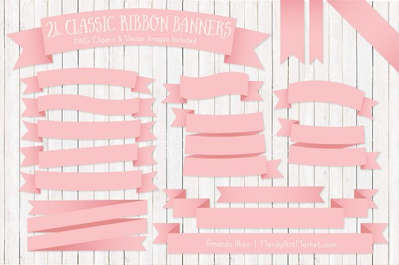 Soft Pink Ribbon Banner Clipart in Illustrations