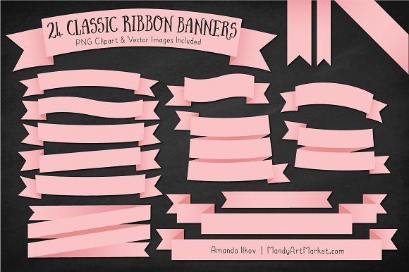 Soft Pink Ribbon Banner Clipart in Illustrations - product preview 1