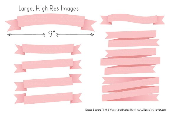 Soft Pink Ribbon Banner Clipart in Illustrations - product preview 2
