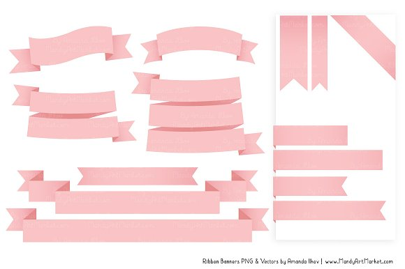 Soft Pink Ribbon Banner Clipart in Illustrations - product preview 3