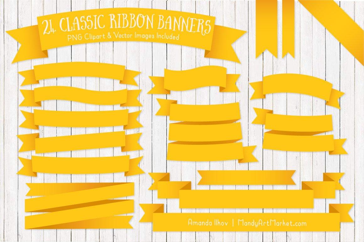 Yellow Ribbon Banner Clipart ~ Illustrations ~ Creative Market