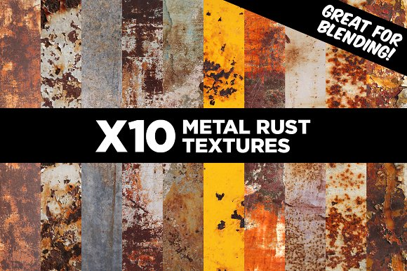 10 Pack of Metal Rust Paint Textures