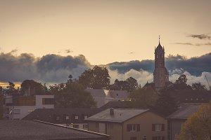 Zurich Skyline At Sunset