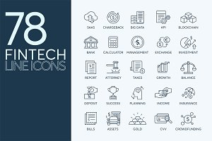 78 Fintech Line Icons