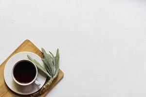 Simple Teacup & Succulent Flatlay