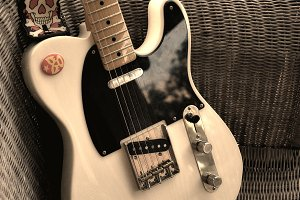 Vintage Black and White Guitar
