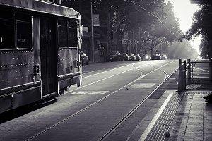 Vintage Tram Monochrome