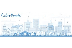 Outline Cedar Rapids Iowa Skyline