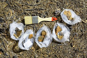 Polyethylene bags with fragments of ancient ceramics