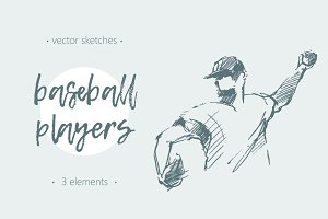Sketches of baseball players