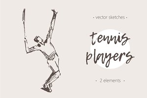 Sketches of tennis players