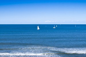 Bright Ocean Panorama With Boats