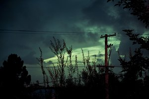 Green Skies With Electric Wires
