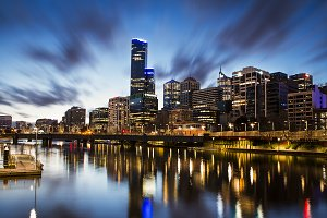 Melbourne City River View in Blue