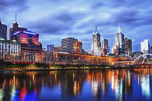 Melbourne City River Night View