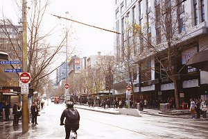 Melbourne City Street In Winter