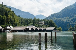 Pier in Konigssee lake a sunny summer day