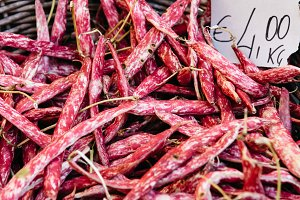 Fresh red beans in street market