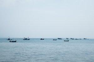 Small boat moored at sea.