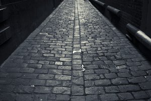 Dramatic Cobblestone Laneway B/W