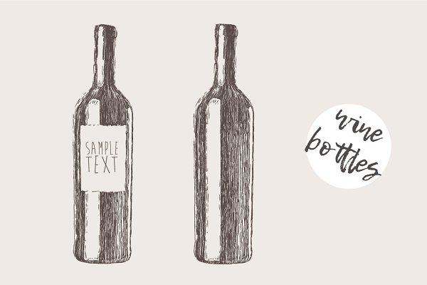 Wine bottles, engraved style