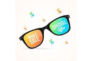 3d Sunglasses Season Sale Concept