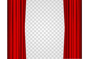 Realistic Red Opened Curtains