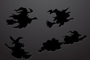 Cartoon Witch Silhouettes Set