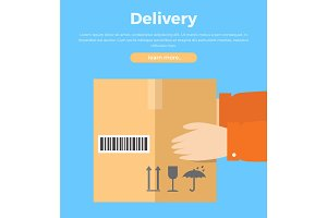 Delivery Concept Web Banner in Flat Style Design.