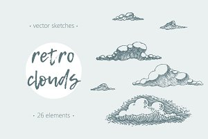 Set of retro clouds illustrations
