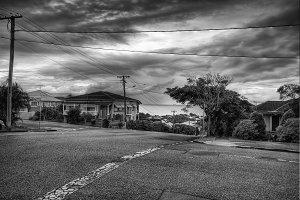 Dramatic Monochrome Suburban Street