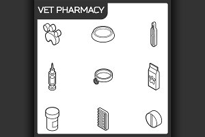 Vet pharmacy outline isometric icons