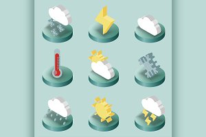 Weather color isometric icons