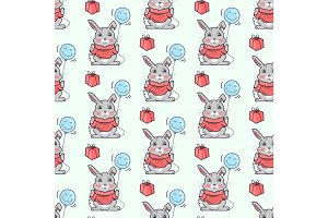 Funny Rabbits Seamless Pattern Vector in Flat Design