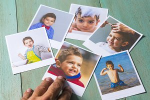 Collage pictures of a kid.