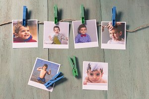 Child photographs hanging