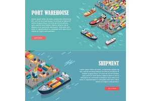 Port Warehouse and Shipment Banner. Vector