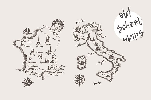 Maps of The Italy and The France ~ Illustrations ~ Creative Market