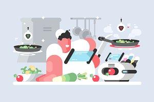 Cook prepares delicious dish