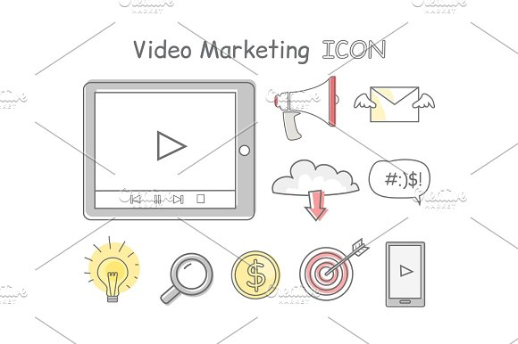 Video Marketing Icons Isolated On White