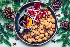 Winter holiday tray with mulled wine