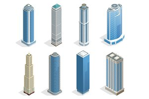 Buildings and modern city houses on 50-70 floors flat isoleted vector icons. Isometric projection of a three-dimensional houses, buildings for web projects, business presentations, infographics, game
