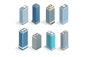 Buildings and modern city houses on 30-40 floors flat isoleted vector icons. Isometric projection of a three-dimensional houses, buildings for web projects, business presentations, infographics, game