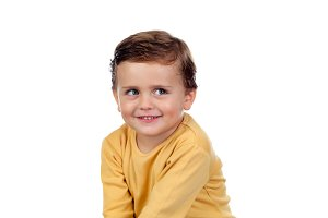 Beautiful child with yellow t-shirt