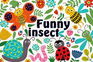 funny insect set