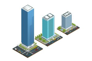 Isometric set of city houses composition with building and road isolated vector illustration. Collection of urban elements architecture, home, road, intersection, traffic light and cars