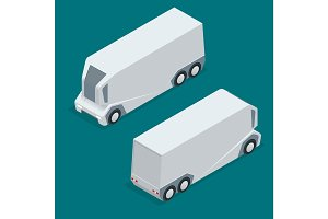 Isometric an unmanned truck on the remote control. Automatic delivery system concept. Self-driving van isolated for web projects, business presentations, infographics and game
