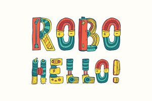 Cartoon colorfull robo font