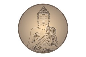Gautama buddha with closed eyes in frame vector illustration